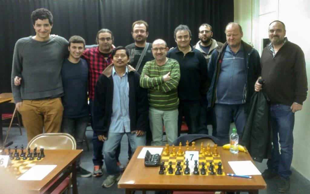 D'esquerra a dreta: Arnau Clot, Gerard Cano, Jordi Vidal, Simón Mogro, Salvador Alarcón, Joan Gallart, Jordi Barraca, Lluís Casanellas, Rex Torsten i Jordi Alvarez. (Foto: Xavier Buey)